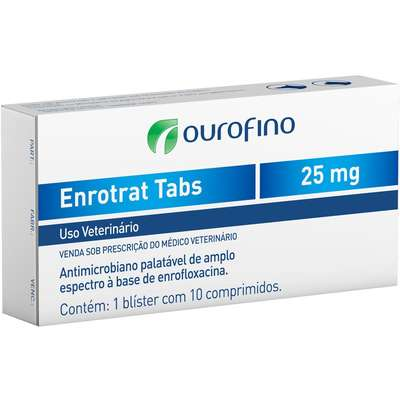 Antibiótico Enrotrat Tabs 25 mg- Cartela c/ 10 Comprimidos  - Agropet Mineiro