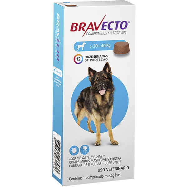 Antipulgas e Carrapatos Bravecto para Cães de 20 a 40 Kg  - Agropet Mineiro