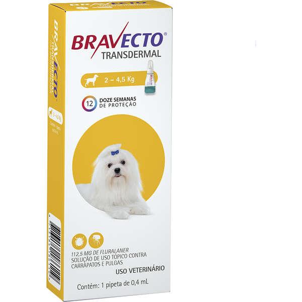Antipulgas e Carrapatos Bravecto Transdermal cães 2 kg a 4,5 kg   - Agropet Mineiro