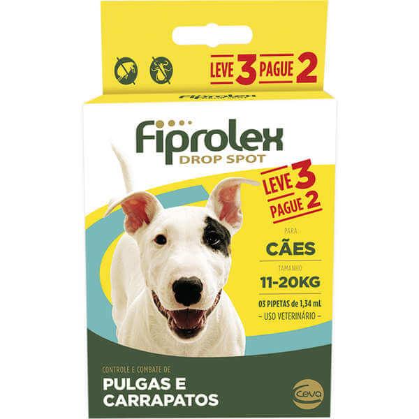Antipulgas e Carrapatos Cães 11 kg - 20 kg Fiprolex Leve 3 e Pague 2