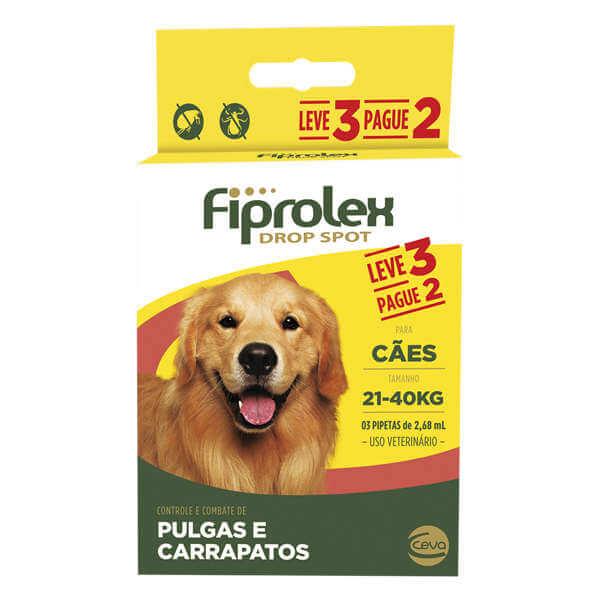 Antipulgas e Carrapatos Cães 21 kg - 40 kg Fiprolex Leve 3 e Pague 2  - Agropet Mineiro