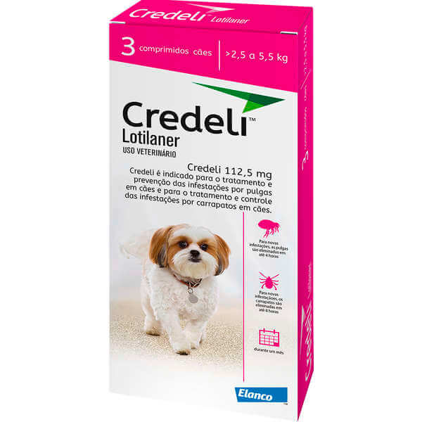 Comprimido Antipulgas e Carrapatos Credeli  112,5mg - Cães de 2,5 á 5,5 kg - Caixa com 3 Comprimidos  - Agropet Mineiro