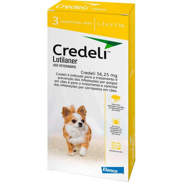 Comprimido Antipulgas e Carrapatos Credeli  56,25mg - Cães de 1,3 á 2,5 kg - Caixa com 3 Comprimidos