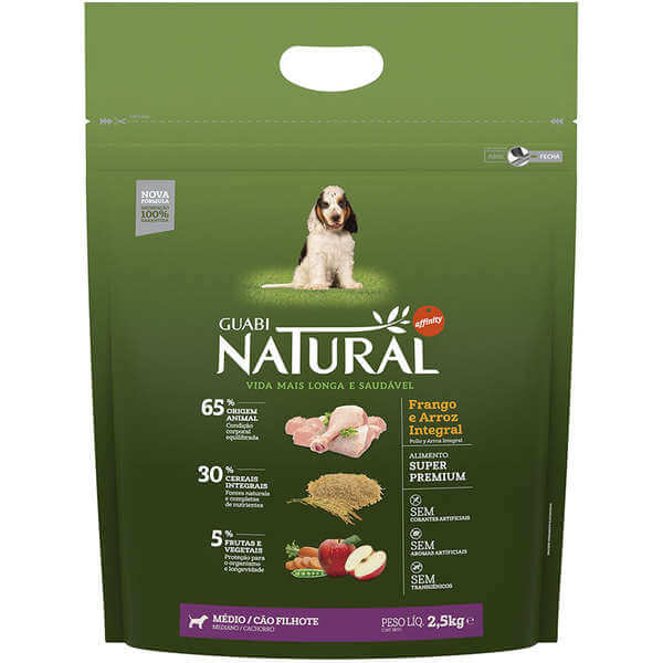 Guabi Natural Cães FIlhotes Raças Médias Frango e Arroz Integral