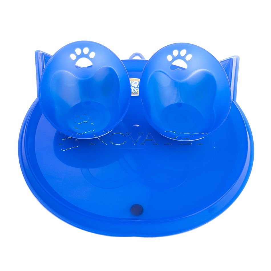 Kit Comedouro e Bebedouro para Gatos Azul