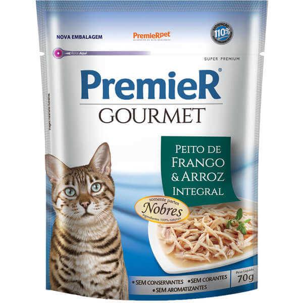 Premier Gourmet Sachê Gatos Sabor Frango e Arroz Integral
