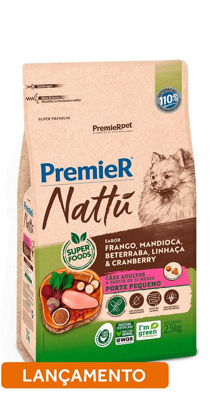 Premier Nattu Cães Adultos Pequeno Porte Mandioca