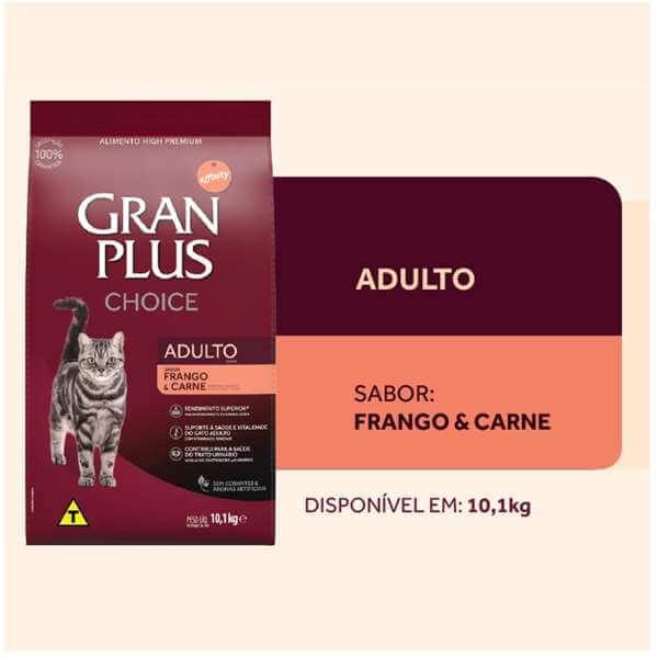 Ração Gran Plus Gatos Adultos Choice Frango e Carne 10,1kg  - Agropet Mineiro