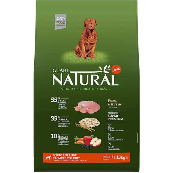 Ração Guabi Natural Cães Adultos Light Raças Médias e Grandes Peru e Aveia 15kg  - Agropet Mineiro