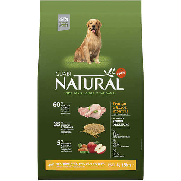 Ração Guabi Natural Cães Adultos Raças Grandes Frango e Arroz integral 15kg