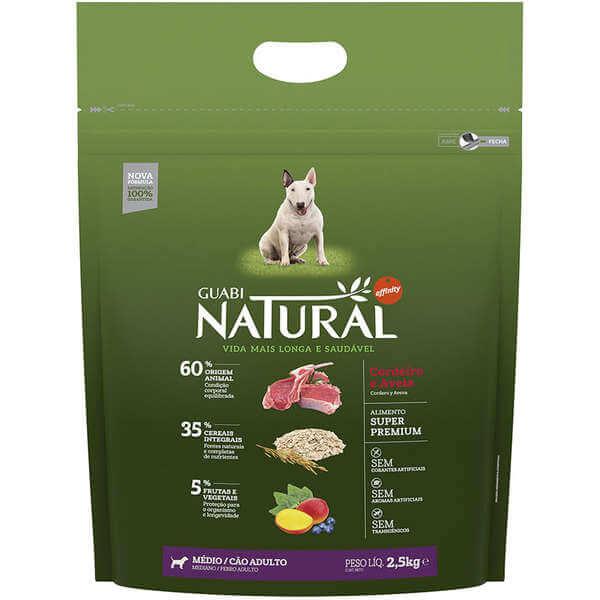 Ração Guabi Natural Cães Adultos Raças Médias Cordeiro e Aveia
