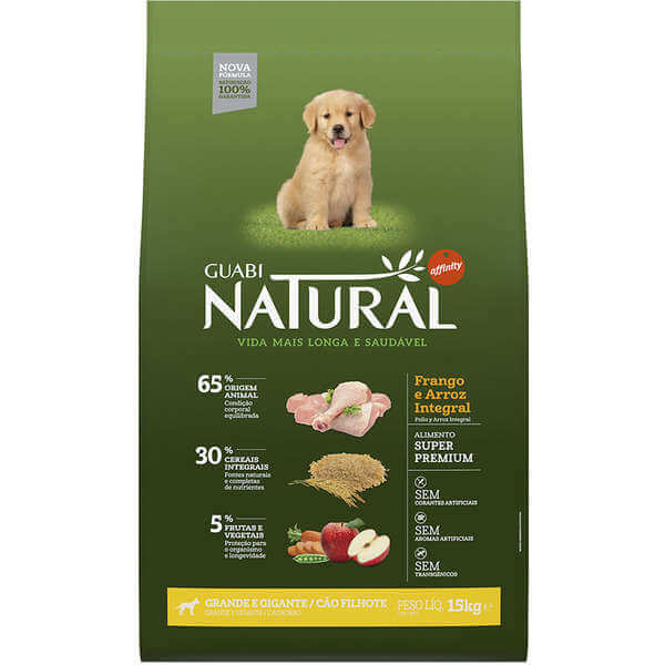 Ração Guabi Natural Cães Filhotes Raças Grandes Frango e Arroz Integral 15kg  - Agropet Mineiro