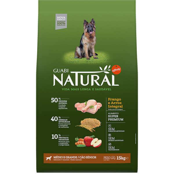 Ração Guabi Natural Cães Sênior Raças Médias e Grandes Frango e Arroz Integral
