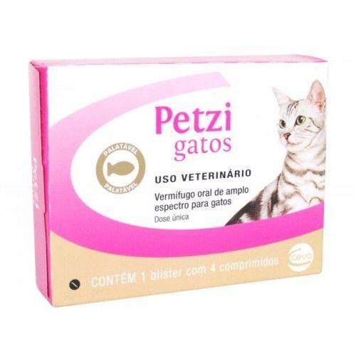 Vermífugo para Gatos Petzi - Caixa c/ 4 Comprimidos