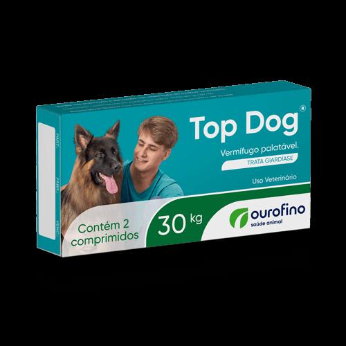 Vermífugo Top Dog Cães 30kg com 2 Comprimidos