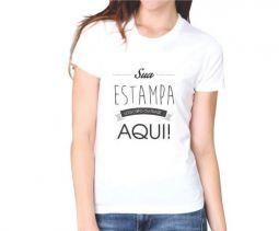 Camiseta Branca Feminina Personalizada - Poliéster