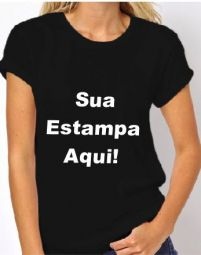 Camiseta Feminina Preta - Estampa Frente Média (A4)
