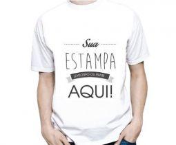 Camiseta Branca Masculina Personalizada - Poliéster