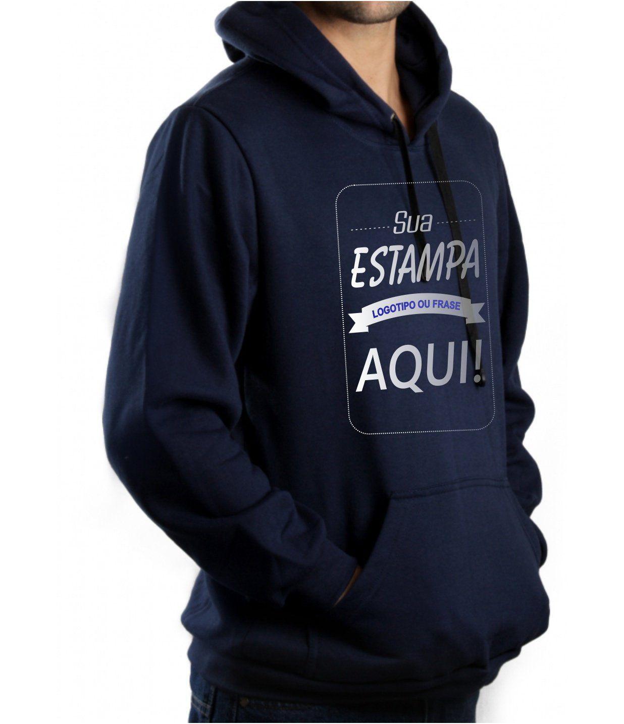 Blusa Moletom Masculina Canguru Personalizada Azul Marinho Estampa frente media (A4)