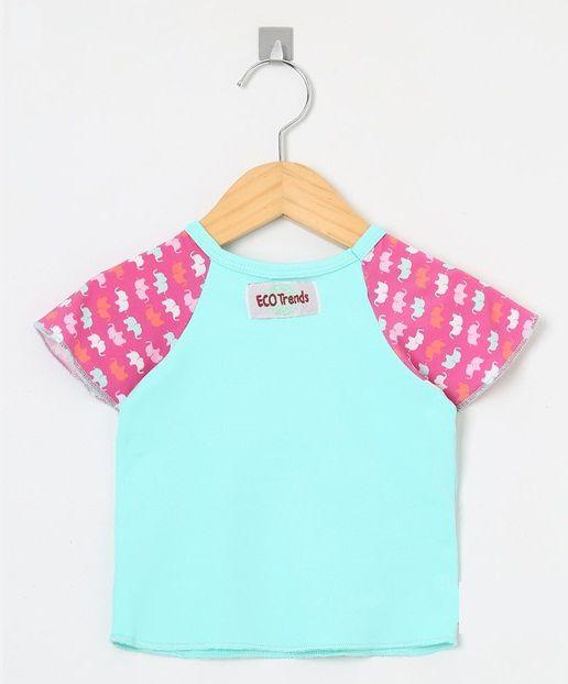 Camiseta com proteção solar manga curta Ecotrends - Elefante
