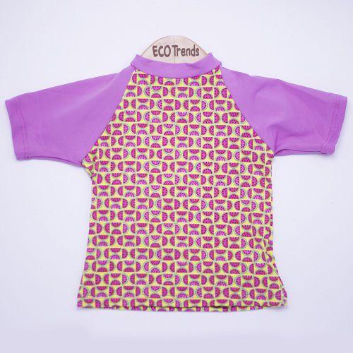 Camiseta com proteção solar manga curta Ecotrends - Melância Rosa