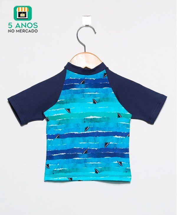 Camiseta com proteção solar UV manga curta Ecotrends - Barbatana