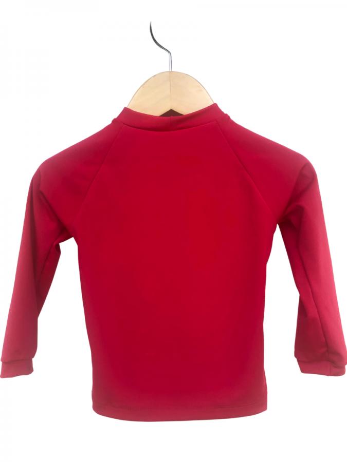 Camiseta Infantil Com Proteção Solar Manga Longa Vermelha Ecotrends