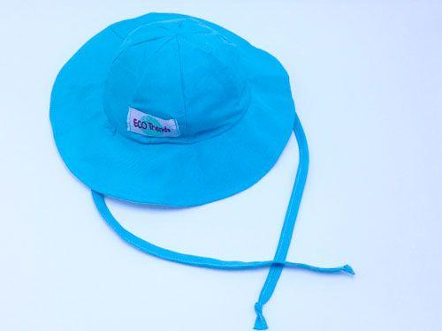 Chapéu Infantil Dupla-Face com Proteção Solar Ecotrends - Turquesa e Branco