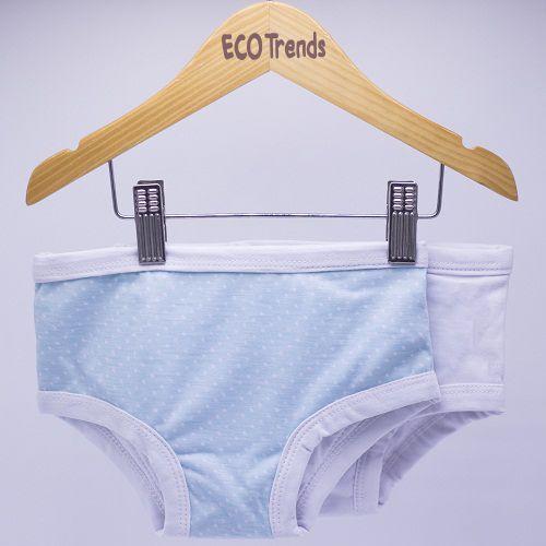 3dc4ec97e Kit calcinha de transição desfralde poa azul e branca