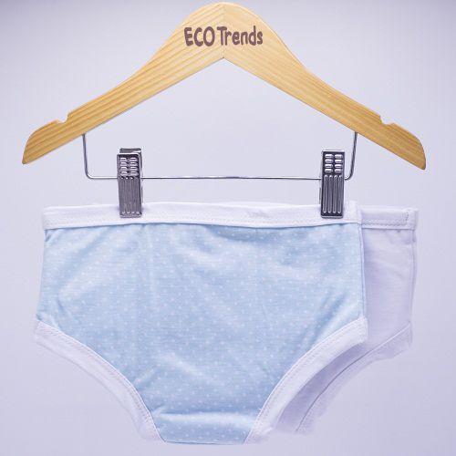 Kit calcinha de transição/desfralde Poa azul e Branca