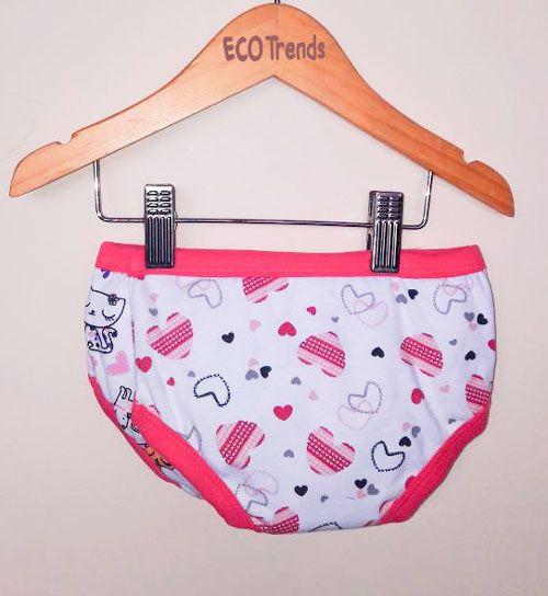 Kit bebê com 2 calcinhas de desfralde/treinamento Ecotrends - Coração Rosa