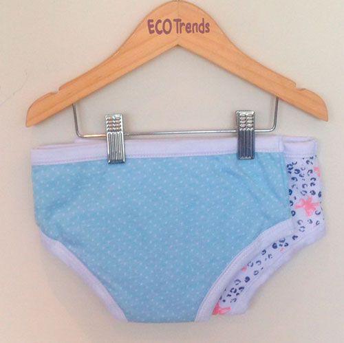 Kit bebê com 2 calcinhas de desfralde/treinamento Ecotrends  - laço + poá azul