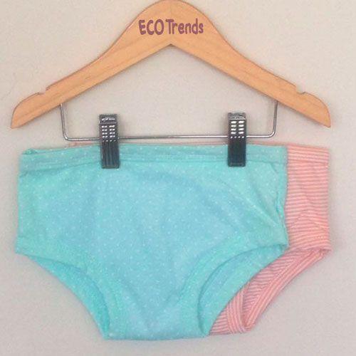 Kit com 2 calcinhas de transição/desfralde Ecotrends  - listrada rosê + poá verde
