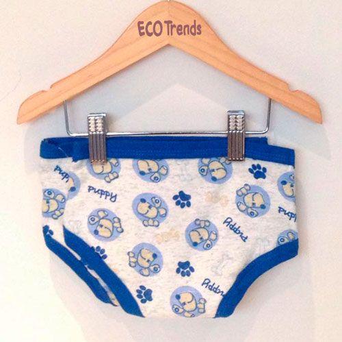 Kit bebê com 2 cuecas de desfralde/treinamento  Ecotrends - cachorro azul