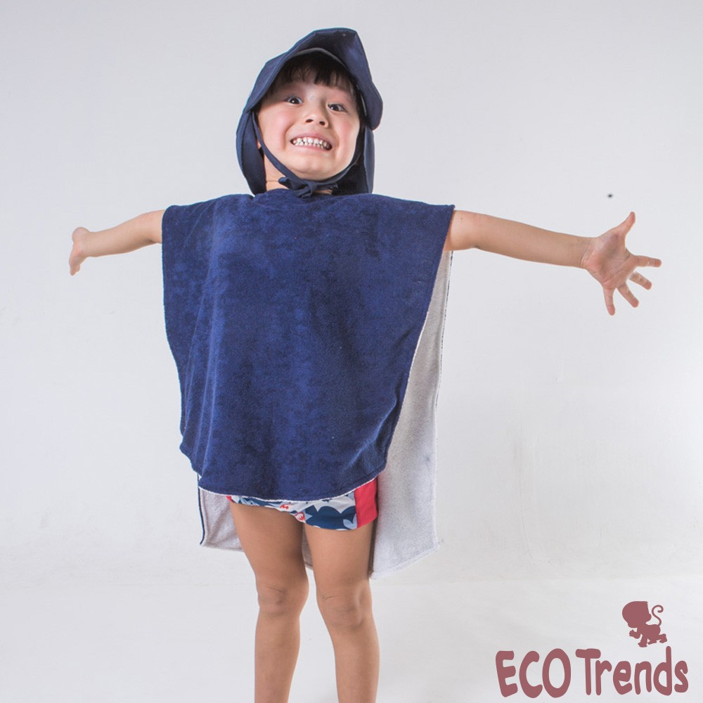 Poncho atoalhado dupla face Ecotrends - Azul Marinho