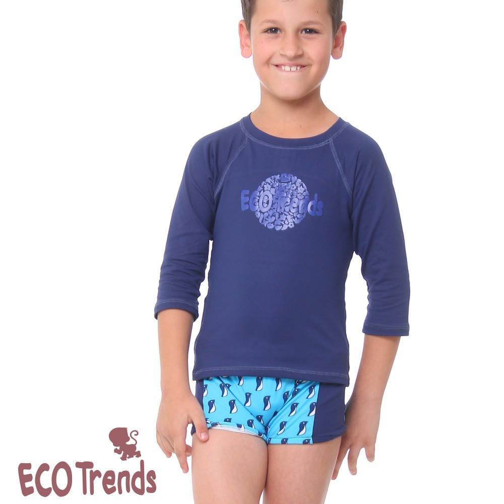 Sunga boxer infantil Pinguim Azul   - Ecotrends