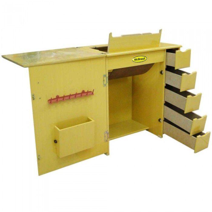 Gabinete Luxo 5 Gavetas para Máquina de Costura Marfim