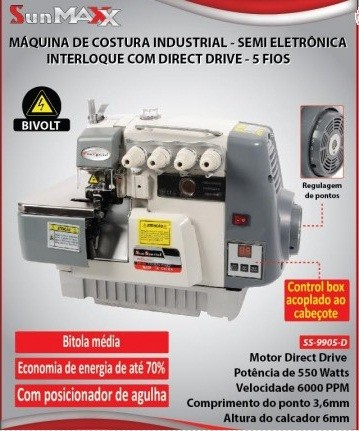 Máquina de Costura interlock Direct Drive Sun Special - Bivolt
