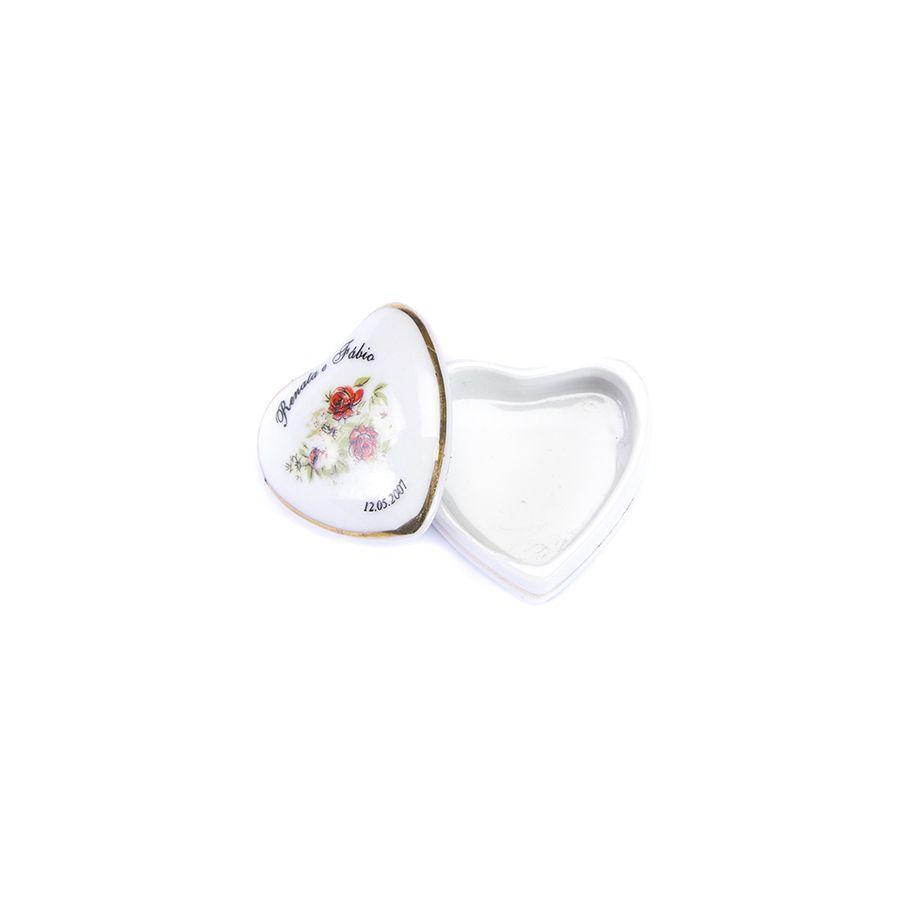 Porta jóia Personalizado Coração médio caixa filetada