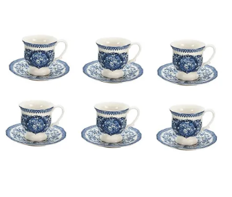 JOGO 6 XICARAS CAFE ENGLIS BLUE FULL FIT
