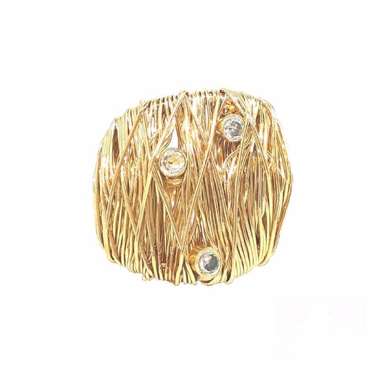 Anel Aramado com Pontos de Zircônia no Banho de Ouro 18k Semijoia