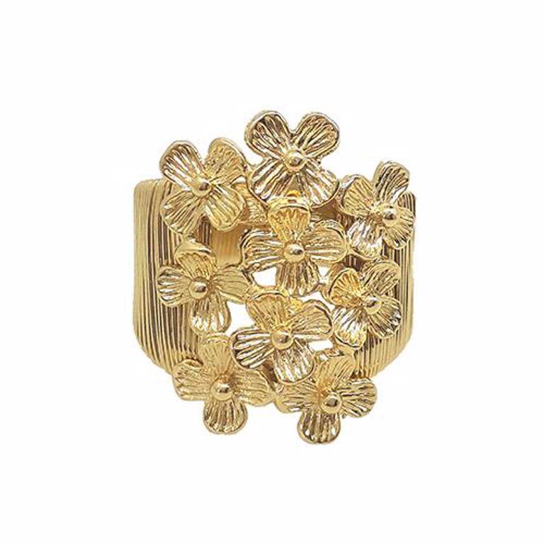 Anel Aramado Flores Banho de Ouro 18k Semijoia