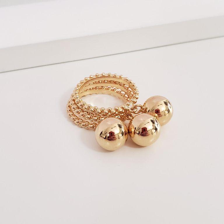 Anel Conjunto de Três Anéis Pipoquinha com Bola Pendurada no Banho Ouro 18k Semijoia