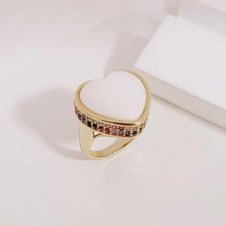 Anel Coração Madre Pérola com Borda Lateral Zircônia Colorida no Banho Ouro 18k Semijoia
