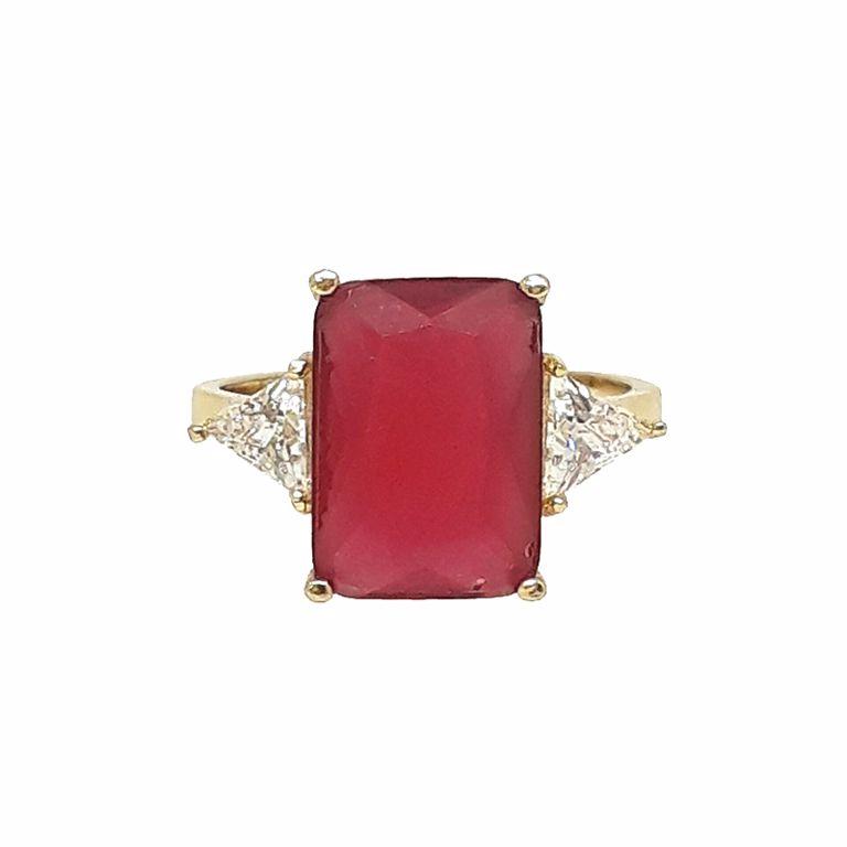 Anel Cristal Rubi com Cristal dos lados no Banho de Ouro 18k Semijoia
