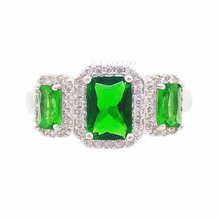 Anel Cristal Verde e Zircônia no Banho de Ródio Branco Semijoia