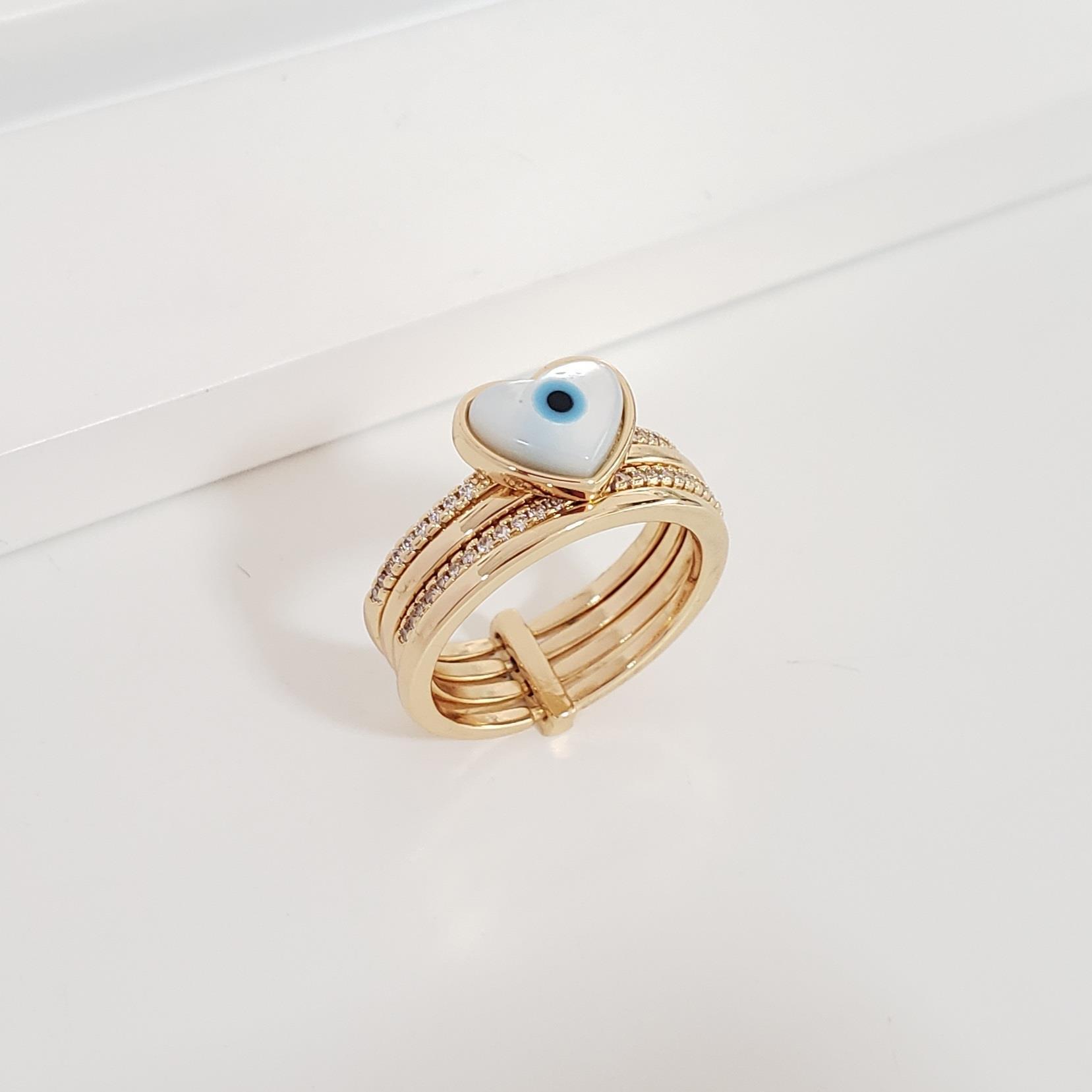 Anel Elos Lisos e Zircônia e Olho Grego no Banho Ouro 18k Semijoia