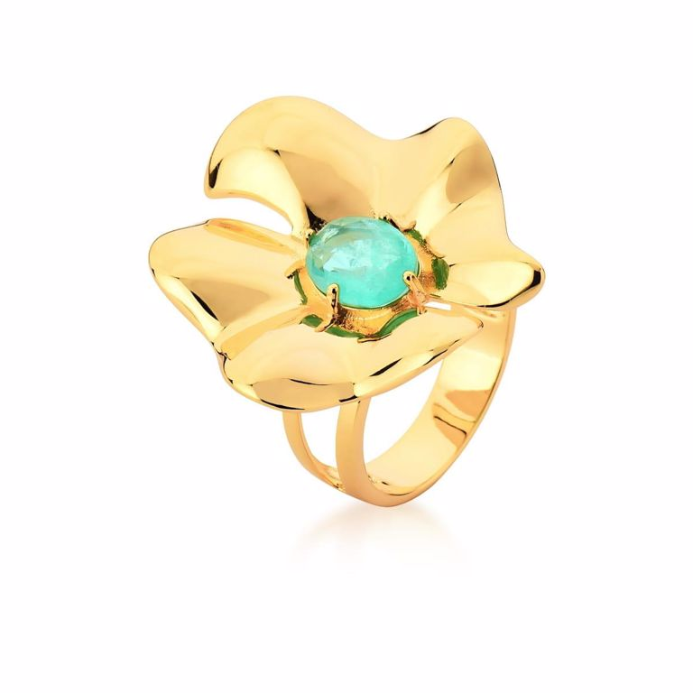 Anel Flor com Miolo Oval Cristal Turmalina Fusion no Banho Ouro 18k Semijoia