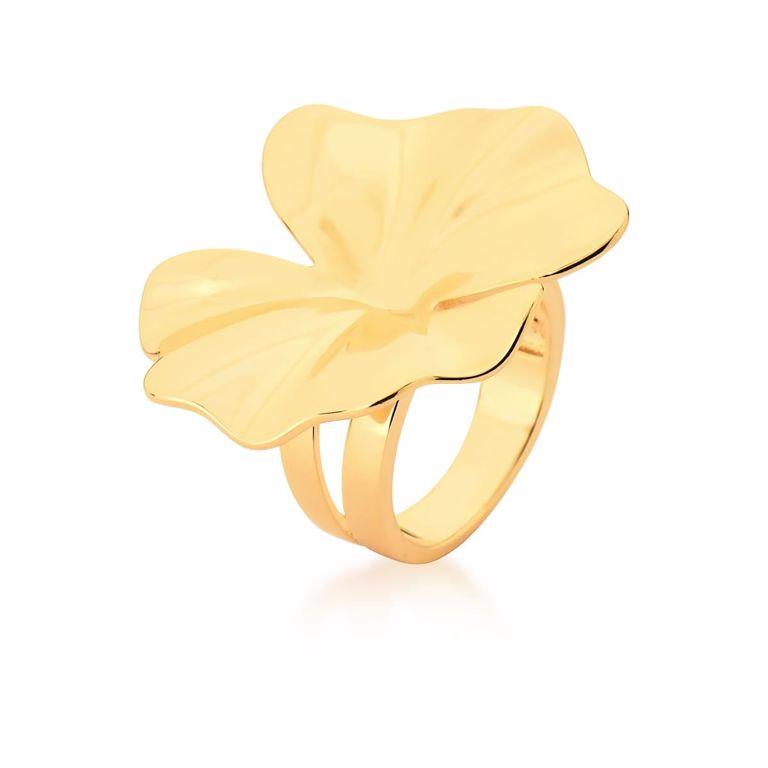 Anel Flor Liso no Banho Ouro 18k Semijoia