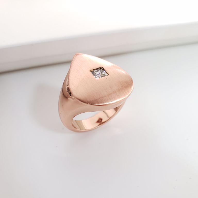 Anel Gota Escovada com Ponto Zircônia Branca no Banho Ouro Rosê Semijoia